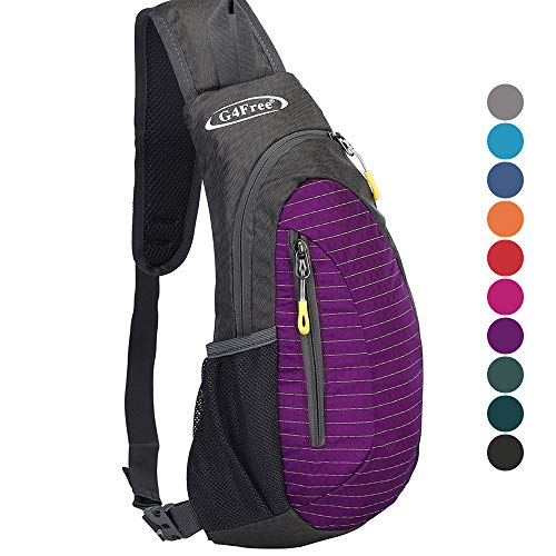 G4Free Sling Bag, Casual Cross Body Bag Outdoor Shoulder Backpack Chest Pack with One Adjustable Strap for Men Cycling Hiking(Purple) - Bag Compact Nylon Tool