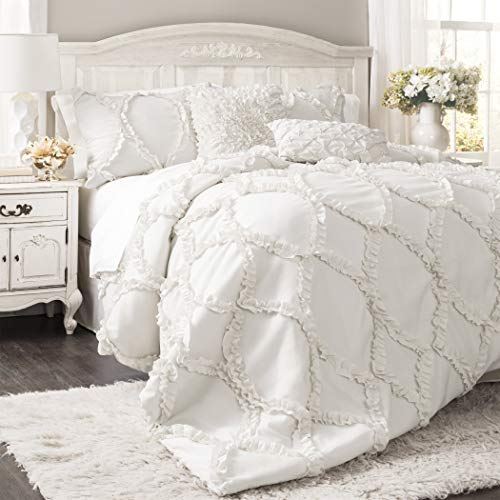 Chic Shabby Comforter Shabby - Lush Decor Comforter Ruffled 3 Piece Set with Pillow Shams - Full Queen - White,