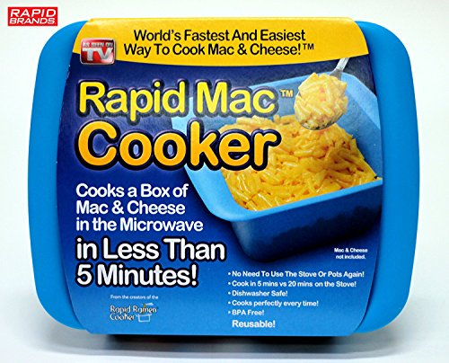 Rapid Mac Cooker - Microwave Boxed Macaroni and Cheese in 5 Minutes - BPA Free and Dishwasher (Blue)
