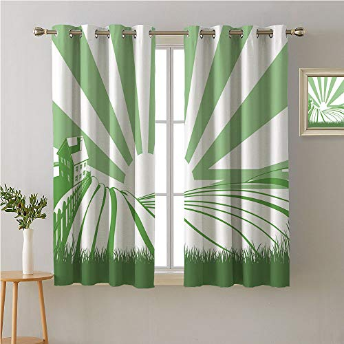 Jinguizi Farmhouse Grommets Drapes/Draperies,Sun Burst Stripes Background with Home Silhouette and Field,Insulated Darkening Curtains,55W x 63L