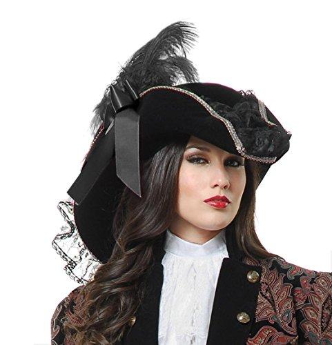 Charades Velvet Pirate Costume Hat, Black/Silver