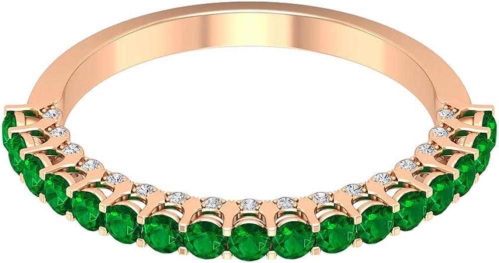 Anillo de compromiso de oro esmeralda vintage de 3/4 ct, único anillo de boda con piedras preciosas, 0,11 ct de diamantes, anillo de novia, 18K Oro