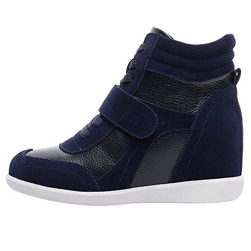 rismart Damen Keilabsatz Klettverschluss Brogue Knöchel Komfort Schuhe Mode Sneaker Navy Blau