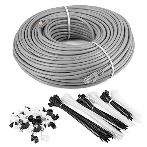 Maximm Cat6 Ethernet Patch Cable - 100 Feet - Grey - (UTP Bare Copper CM Rated) Internet RJ45 Gigabit Cat6 Lan Cable With Snagless Connectors For Fast Network & Computer Networking + Cable Ties (550mhz Crossover Network Cable Utp)