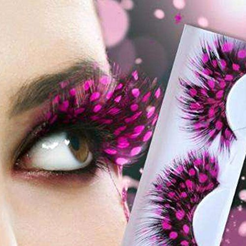 Voberry Women Fancy Soft Long Feather False Eyelashes Party Club Makeup Eye Lashes (Pink)