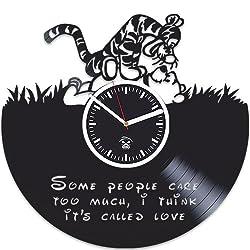 Kovides Winnie The Pooh Vinyl Clock, Tiger Gift, Cartoon Disney, Vinyl Wall Clock, Best Gift for Kids, Vinyl Record Clock, Birthday Gift for Kids, Silent Mechanism, Wall Clock Modern