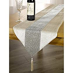 Table Runner with Strip and Tassels