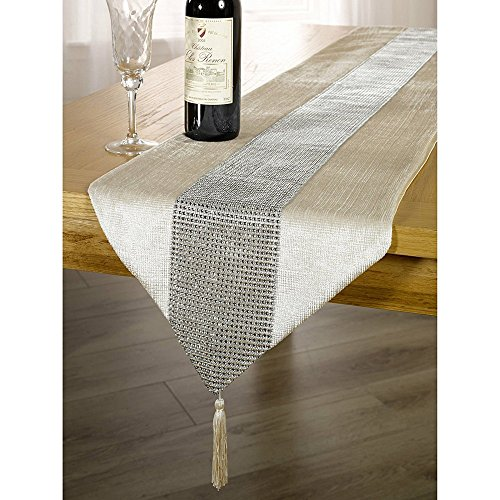 OZXCHIXU TM 13inch x 72inch Table Runner with Diamante Strip and Tassels (Beige) (Runner Tabel)