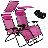 Artist Hand 2 Pack of Zero Gravity Outdoor Folding Lounge Chairs w/Sunshade Canopy+ Snack Tray,Adjustable Lawn Patio Reclining Chairs for Travel Yard Beach Pool (Deep Raspberry)