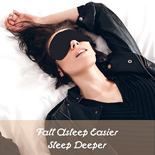 SZTROKIA Sleep Mask, Comfortable Natural Silk Eye Mask, Blindfold and Breathable Material, Adjustable Strap, Easy to Fall Sleep. (Black)