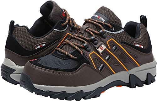 (LARNMERN Work Shoes for Men, LM-18 Men's Steel Toe Safety Shoes Breathable Comfortable Footwear Industrial and Construction Boots (13.5 D(M) US, Brown))
