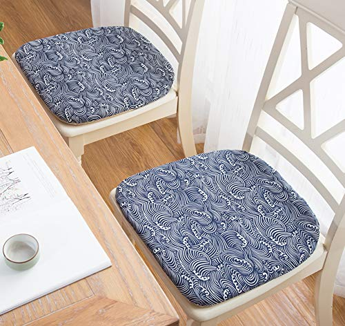 Peacewish Chair Cushions for Indoor Seat Super Soft Office Chair Pads Kitchen Patio Chair Mats, Set of 6 (Blue, Set of 6) (Chair Kitchen Pad)