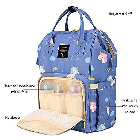 Caballo SUNVENO multifunci/ón de gran capacidad mam/á bolsa de pa/ñales Cambiar Pa/ñales mochila maternidad hombro bolsas