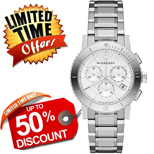 Burberry The City SWISS LUXURY Round Stainless Steel Chronograph 38mm Silver Tone Date Dial Women Watch BU9700