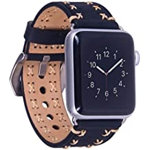 For Apple Watch Band, 38mm Iwatch Strap Premium Vintage Genuine Leather Replacement Watchband with Secure Metal Clasp Buckle[with Adapter]for Apple Watch Sport Edition (38mm Black)