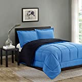 Happy Home Reversible Down Alternative 3 Piece Comforter Set Full/Queen, Blue/Black