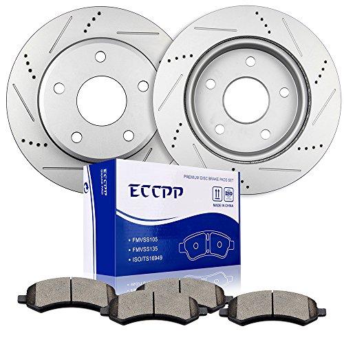 Brake Rotors Brakes Pads Kits,ECCPP 2pcs Front Discs Brake Rotors and 4pcs Ceramic Disc Brake Pads Set for 2005-2010 Dodge Dakota,2006-2009 Mitsubishi Raider