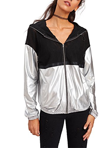 SweatyRocks Women's Summer Zip Up Light Weight Long Sleeve Mesh Bomber Jacket Metallic L