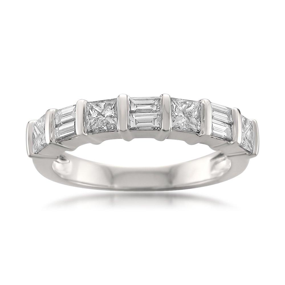 14k White Gold Princess-Cut & Baguette Diamond Bridal Wedding Band Ring (1 cttw, I-J, I1-I2), Size 8 by La4ve Diamonds