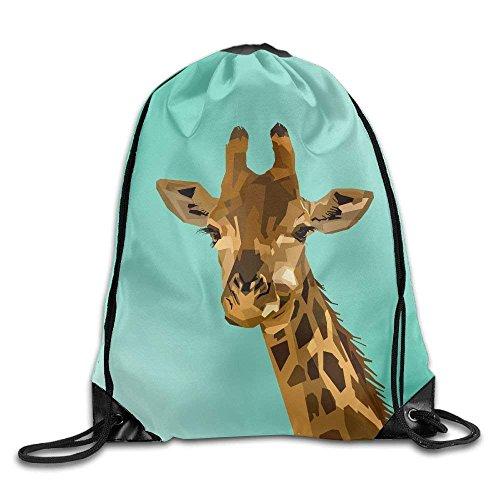Unisex Animal Giraffe Print Drawstring Backpack Rucksack Shoulder Bags Gym Bag Sport Bag