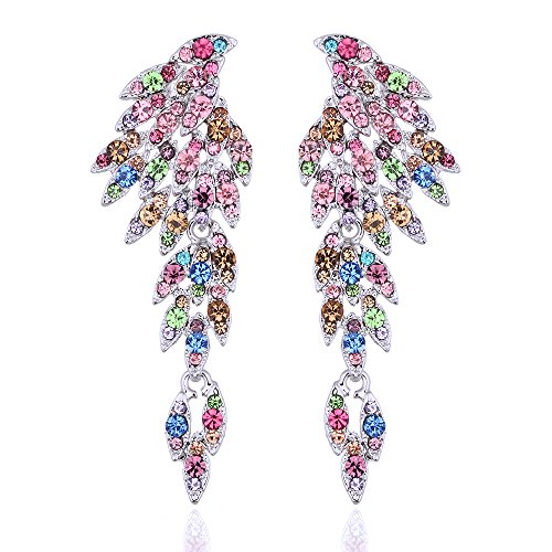 mecresh Vintage Style Wedding Crystal Rhinestone Cluster Chandelier Hollow Dangle Earrings Multicolor