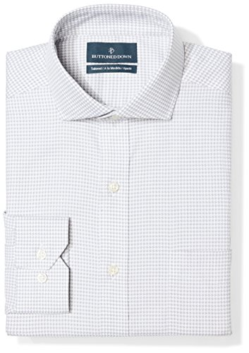 BUTTONED DOWN Men's Tailored Fit Cutaway-Collar Pattern Non-Iron Dress Shirt, Grey Houndstooth, 16
