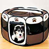 Katoot@ Pet Tent Pet Outdoor Tent Pet Fence Waterproof Oxford Cage Pet Toys Cat Toys Dog Toys (S, Brown)
