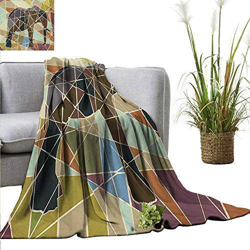 BelleAckerman Blanket Elephant,Mosaic Design African Animal in Soft Colors Wildlife Nature Safari Theme Artwork,Multicolor Flannel Super Soft Warm Thick Blanket for Home 30