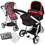 TecTake 3 in 1 Pushchair Stroller Combi Stroller Buggy Baby Jogger Travel Buggy Kid's Stroller -Different Colours- (Red…