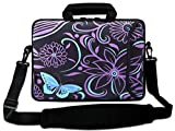 AUPET 16 16.5 17-17.3-Inch Water Resistant Neoprene Sleeve Notebook Neoprene Messenger Case Tote Bag with Outside Handle and Adjustable Shoulder Strap & Extra Pocket(Purple Flower)