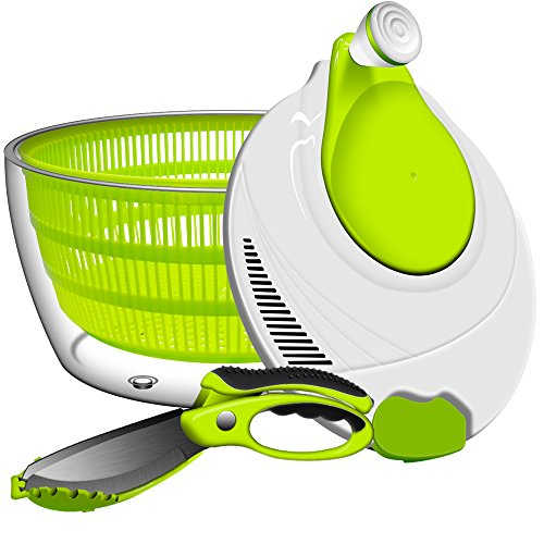 Salad Spinner, ANKO BPA Free Certified 4.2 Quart Capacity Vegetable Dryer Strainer with Vegetable Scissors, Ease for Tastier Salads and Faster Food Prep (1) by ANKO