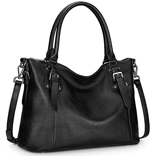 S-ZONE Women's Vintage Genuine Leather Tote Large Shoulder Bag with Zipper Pocket Outside (Medium-Black)