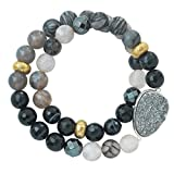 Silpada 'Ode To Geode' Natural Agate, Hematite, and Druzy Stretch Bracelet in Sterling Silver and Brass, 6.75""