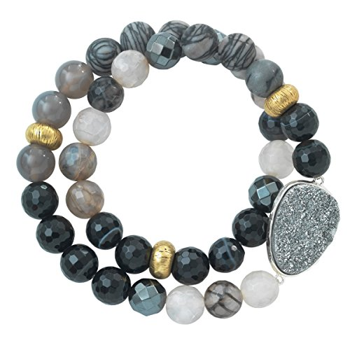 Silpada 'Ode To Geode' Natural Agate, Hematite, and Druzy Stretch Bracelet in Sterling Silver and Brass, 6.75