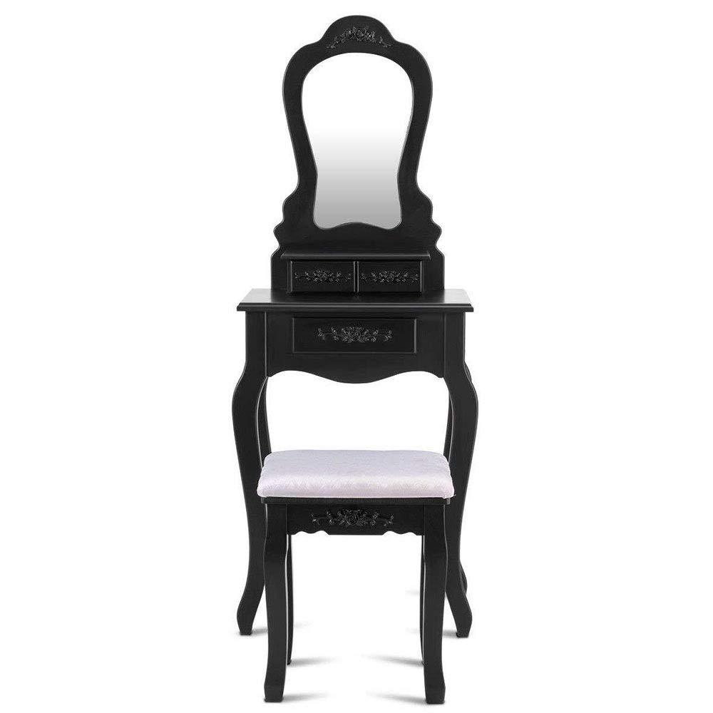 Vanity Makeup Table Make-up Veranstalter Kosmetiktisch Vanity Set mit Spiegel Cushioned Hocker Geschenk Schminktisch mit Hocker und Spiegel (Farbe : Schwarz, Größe : 50 * 30 * 136cm)