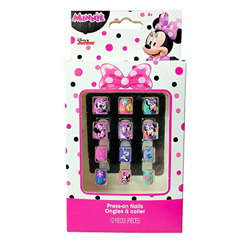 KidPlay Products Disney Minnie Mouse Press-On Nails 12 Pack Beauty Dress Up Pretend Play