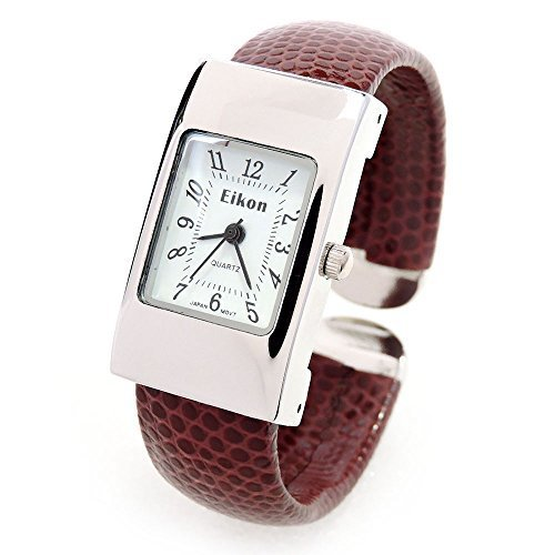 Brown Silver Snake Style Band Rectangle Case Women's Bangle Cuff Watch - Womens Rectangle Bangle Watch
