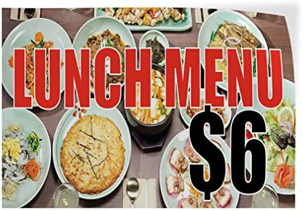 Decal Sticker Multiple Sizes Lunch Menu $ 6 Restaurant & Food Tasty Meal Outdoor Store Sign White - 72inx48in, Set of 10