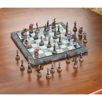 Ivory Like Chess Set (Civil War Themed Chess Set Kids Adults Tournament Games Revolutionary Medieval Modern Tabletop Standard)