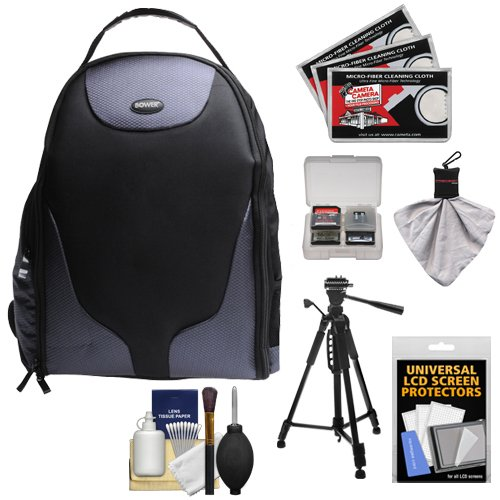 Bower SCB1350 Photo Pack Backpack Digital SLR Camera Case (Black) + Tripod + Accessory Kit for Canon EOS 7D, 70D, 5D Mark II III, Rebel T3, T3i, T4i, T5, T5i, SL1 DSLR Cameras by Bower