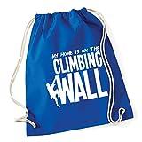 HippoWarehouse My Home is on the Climbing Wall Drawstring Cotton School Gym Kid Bag Sack 37cm x 46cm, 12 litres