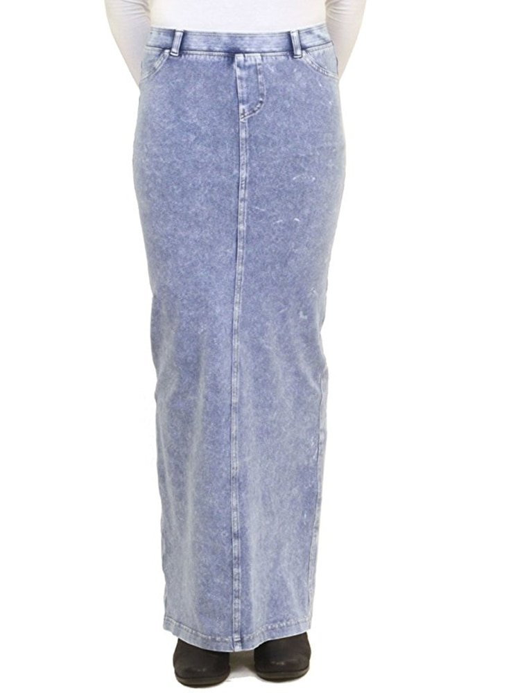 Hardtail Long Denim Pocket Skirt (XL, Light Denim)