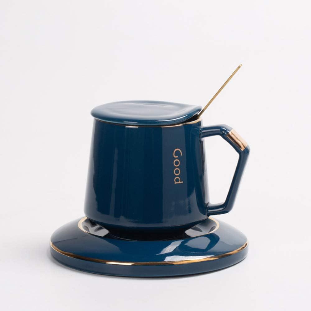 XIEPEI Taza de café de Alta Gama, Taza Creativa, Taza de cerámica, Taza de Leche, Taza para Parejas de Oficina, Taza de Agua Ligera con Tapa, Sapphire Blue (Cup Plate + Cover