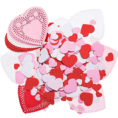 Hotop 300 Pieces Mini Valentine's Heart Doilies and 500 Pieces Foam Heart Stickers Adhesive Stickers for Wedding Decoration Valentine's Day Party (Red Pink White)]()