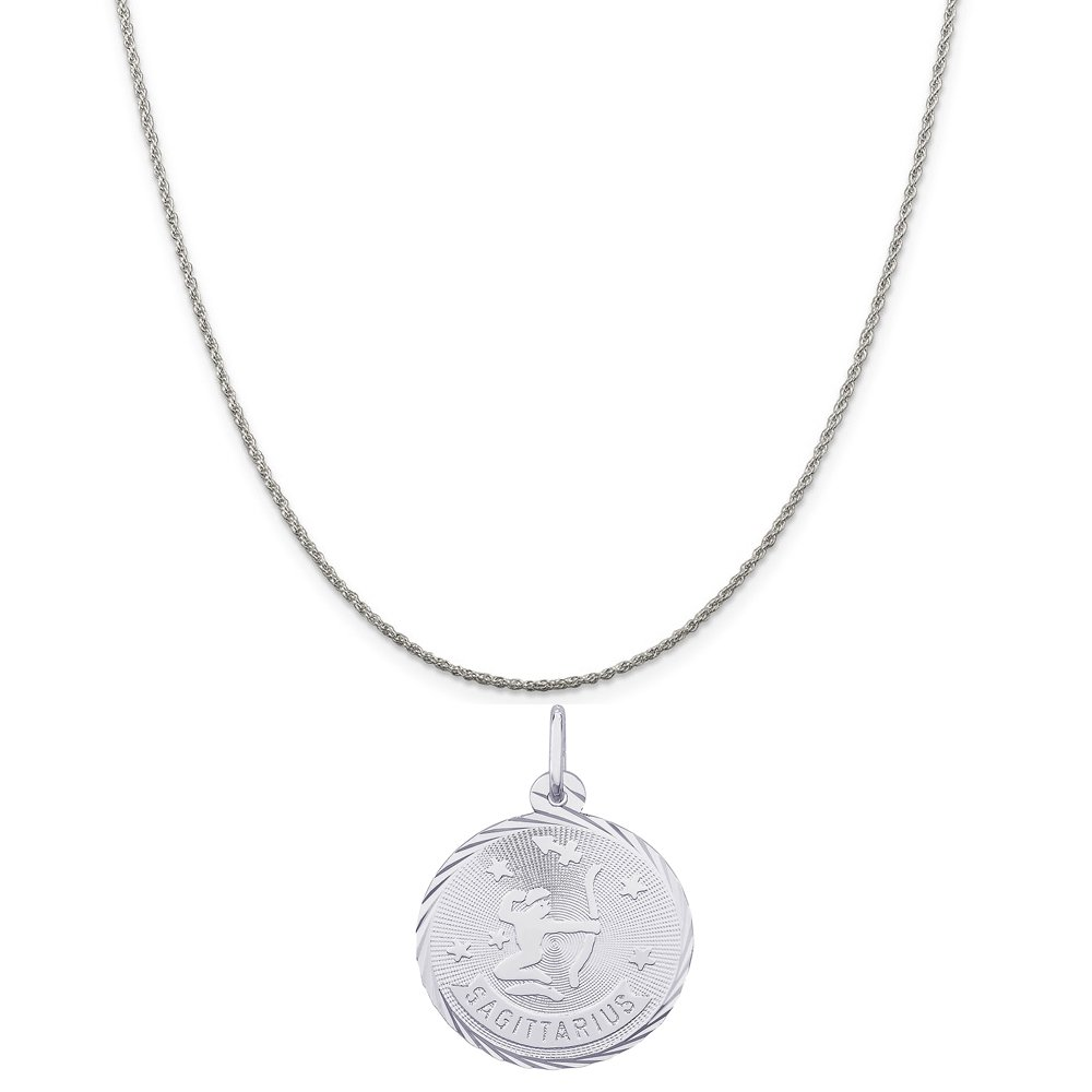 Rembrandt Charms Sterling Silver Sagittarius Charm on a Sterling Silver Box Chain Necklace