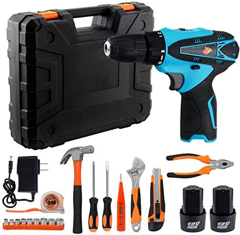 Anbull Power Tools Combo Kit, 33Pcs Cordless Drill Driver Kit, 16.8V Cordless Power Drill with 2 Batteries for Home Improvement & DIY Project
