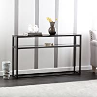 Baldbrick Black Metal Console Table with Glass Top