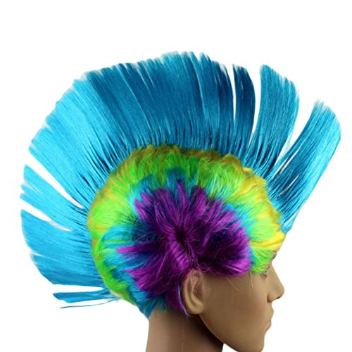 Coohole Colorful Hallowmas Masquerade Punk Mohawk Mohican Hairstyle Cockscomb Hair Wig (G)