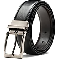 Genuine Leather Belt Single Prong Rotated Buckle Adjustable Dress Belt for Men