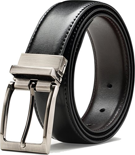 Genuine Leather Belt Single Prong Rotated Buckle Adjustable Dress Belt for Men